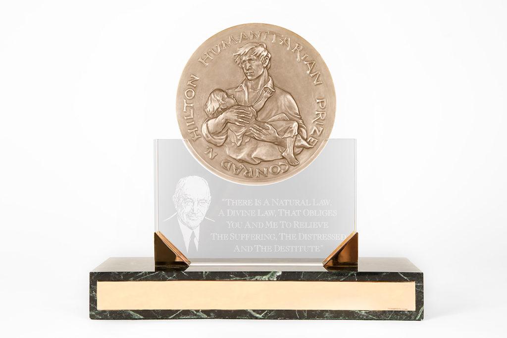Hilton Humanitarian Prize trophy