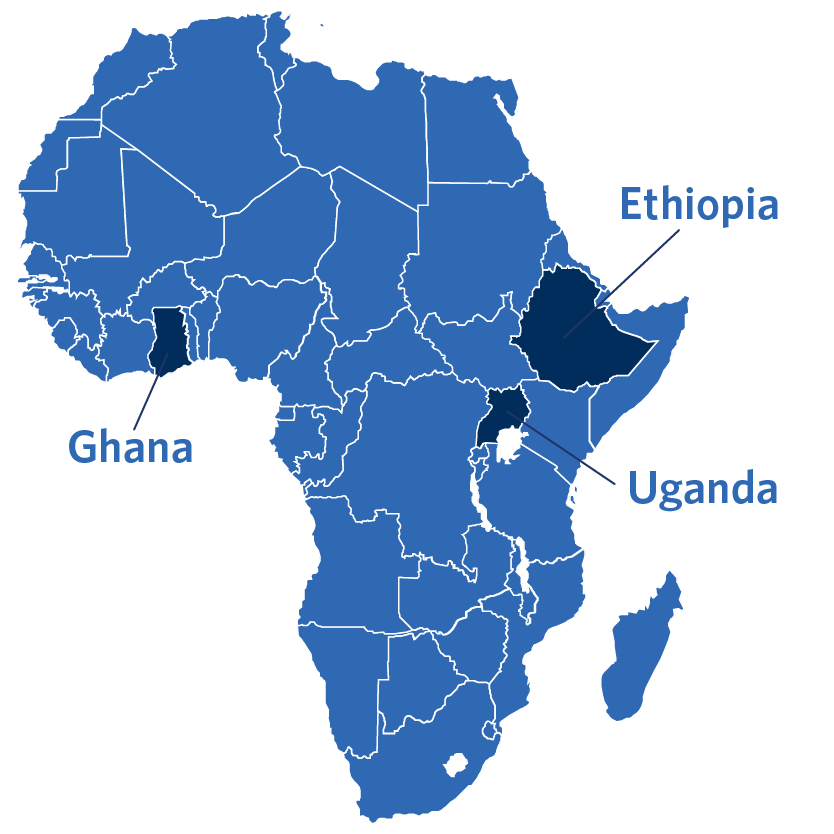 A map of Africa that highlights where the Safe Water program is active in Ethiopia, Uganda, and Ghana
