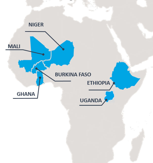 A map of Africa highlighting the countries of Niger, Mali, Ghana, Burkina Faso, Ethopia and Uganda