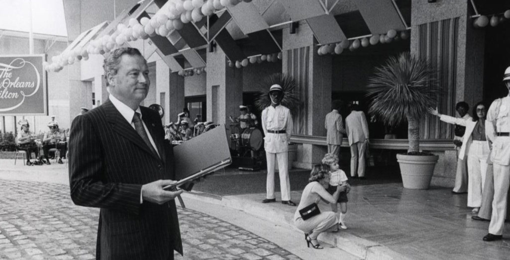 Barron Hilton inspecting the newly opened New Orleans Hilton in 1977.