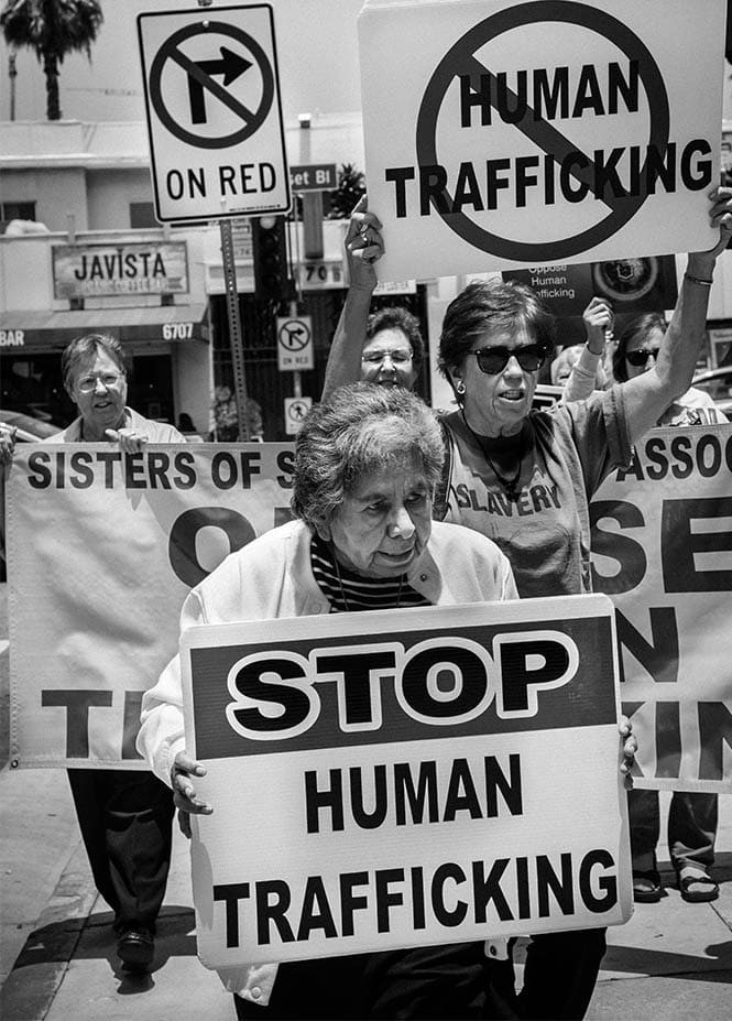 Catholic sisters from the Los Angeles area demonstrate against human trafficking in Hollywood, California.