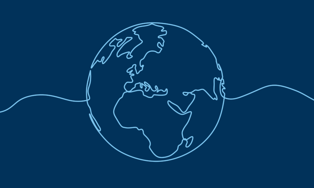 An line illustration of the globe